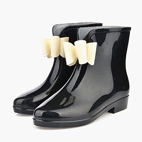 Printemps et automne mode dames bottes de pluie Black