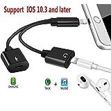 Lightning auf Lightning Adapter iPhone 77Plus, anchenle 2in 1Doppel Lightning Kopfhörer Jack Adapter [Musik + Ladegerät + Calling + Sync Data] Audio Splitter Ladekabel Konverter für iOS 10, (schwarz) …