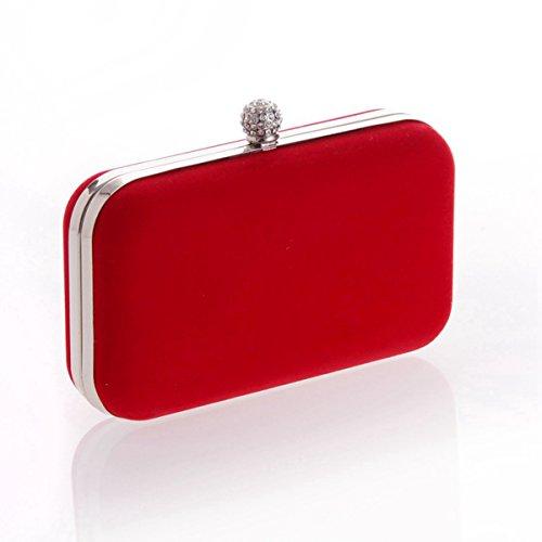 Pochette Da Sera Flada Per Donna Rettangolare Flanella Semplice Borsa Da Sposa Strass Rosso Rosso