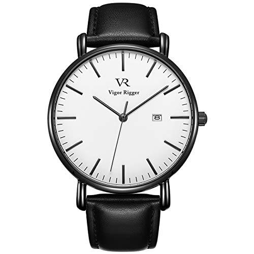 Vigor Rigger Herren Armbanduhr Quarz Superdünn Schwarz Armbanduhr für Damen und Herren Classic Minimalistisches Design mit Datum Kalender und Weiche Lederarmband