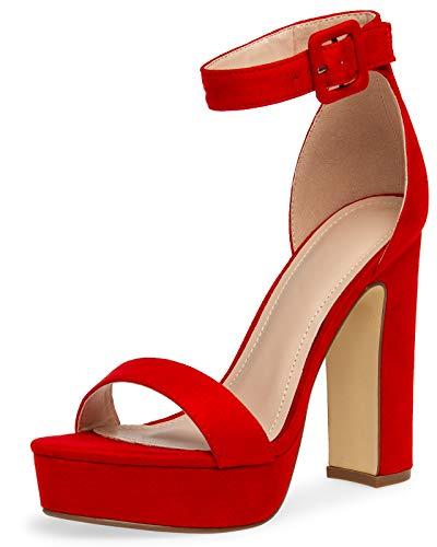 Caspar SBU018 Damen High Heel Plateau Sandalette, Farbe:rot, Größe:39 EU