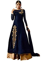 Wommaniya Impex New Designer Women's Navy Blue Taffeta Silk Embroidery Semi Stitch Indo Western Style Party Wear...