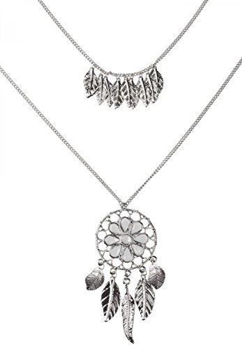 styleBREAKER Halskette mit Traumfänger Anhänger Schmucksteine, Federn, Erbskette und Karabinerverschluss, Damen 05030013, Farbe:Silber