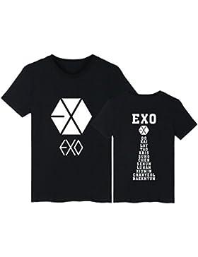 DJS KPOP Exo Manga Corta Algodón Harajuku Camiseta Informal de Apoyo Exo Fans Camiseta Mujer Hombre Pareja Ropa...