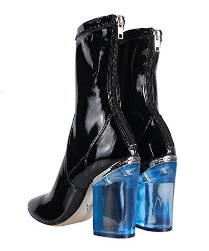 Windsor Smith Vinyl Black Patent Boots - Stivaletti Neri In Vernice Tacco Trasparente Blu Black