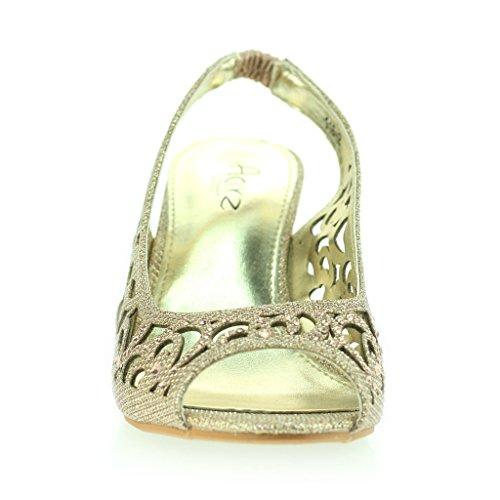 Femmes Dames Soirée Mariage Peeptoe Slingback Diamante Talon Moyen Sandale Chaussures Taille Champagne