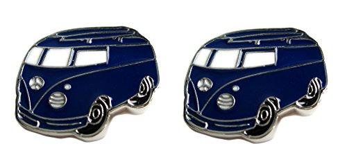 Manschettenknöpfe Bus blau weiss silbern + Silberbox
