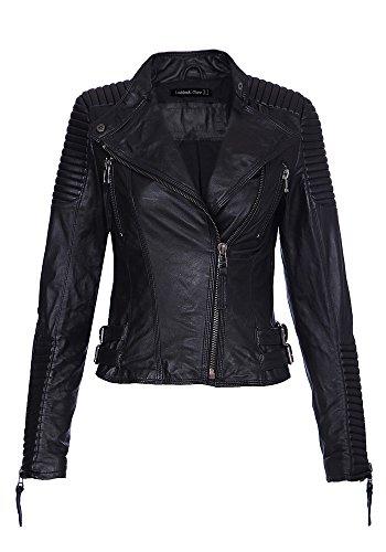 LookbookStore spalline donna, trapuntato Vera Pelle di Pecora Giacca nera Black 46