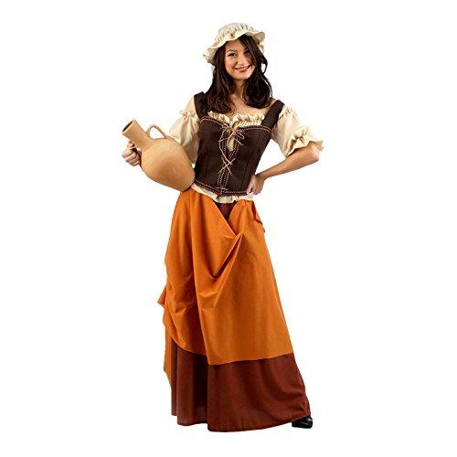 Mittelalter Wirtin Schankmaid Kostüm Damen 4tlg. Bluse, Rock, Hut, Mieder zum Karneval braun - S (Disco Girl Halloween Kostüm)