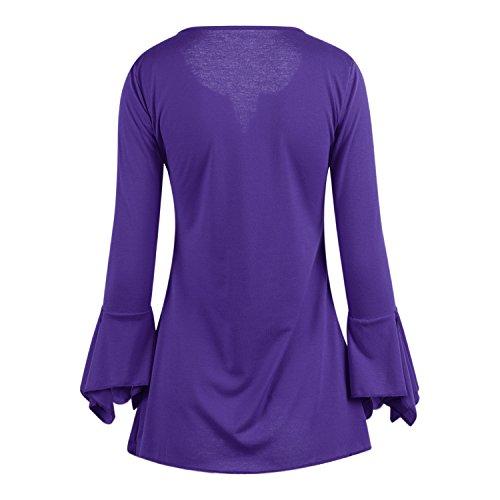 LAEMILIA Chemsie Femmes Chemiser Automne Manches 3/4 Evasées Col V Tops Slim Elégante Uni Simple Basique Hauts Blouse Violet