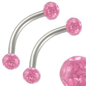 2Pcs 16g 16 gauge 1.2mm 3/8 10mm Steel eyebrow lip bar ear tragus ring curve barbell Rose Crystal AHWO Body Piercing Jewellery