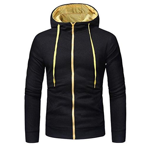 VEMOW Sommer Herbst Herren Langarm Casual Business Hoodie Kapuzenpullover Tops Jacke Mantel Outwear(Schwarz 2, EU-56/CN-XXL)