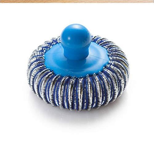 Blue Mühelos Baumwolle (LLCC Stahlkugelbürste, kurzgriff geschirrspültopf stahlkugel, farbreinigungskugel, langlebig, komfortabel und mühelos.)