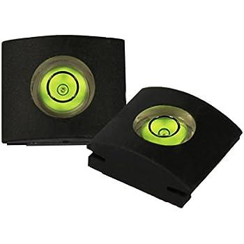 COM-FOUR® Kamera Blitzschuhabdeckung Schutz SLR schwarz mit Wasserwaage - 2 Stück