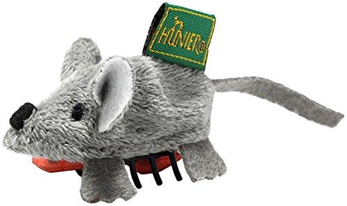 HUNTER RUNNING MAUS Katzenspielzeug, batteriebetrieben, Plüschtier, Maus, ca. 5 cm, grau
