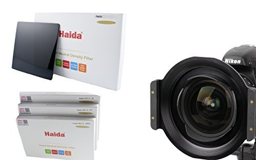 Portafiltro di HAIDA metallo per il filtro plug-in 150 series per Nikon AF-S Nikkor G 1:2.8/14-24mm ED e Set di Haida Optical composto da tre differenti dimensioni del filtro ND 150 mm x 150 mm - ND0.9 (8x) / ND1.8 (64x) / ND3.0 (1000x)