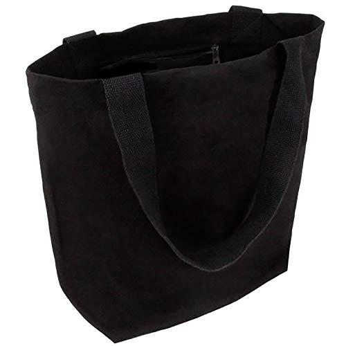 Cottonbagjoe stylische geräumige Tragetasche | mit Innentasche, Reißverschluss, und großem Boden | 1 Stück, Schwarz | Baumwolltasche Stofftasche Shopper Handtasche | Öko-Tex 100 Standard Zertifiziert -