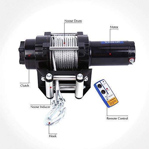 Cabrestante Eléctrico, Cabrestante de 12v con Interruptor Remoto Cable de Derivación de 4 vías de Cuerda de Alambre de 15 m, Capacidad de Carga de 4000 LB