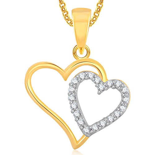 Meenaz Gold Plated Heart Pendant Locket Love Valentine Gifts With Chain In American Diamond Cz Jewellery Set For Girls Women PS362  available at amazon for Rs.249