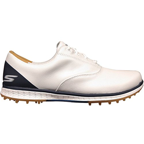 Skechers 2018 GO GOLF Elite 2 Womens Spikeless Leather Shoes 14866 White/Navy 6.5UK