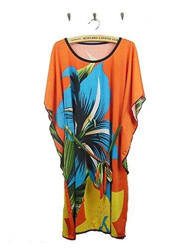 Vlunt Frauen Ice Silk Schmetterling Lose Novelty Print Herbst-Sommer Kleid D