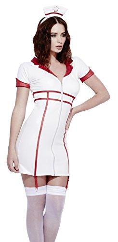 Smiffy's 43499M - La Febbre Role-Play Infermiera Bagnato Costume Bianco con Il Vestito Staccabili Bretelle e Copricapo, M