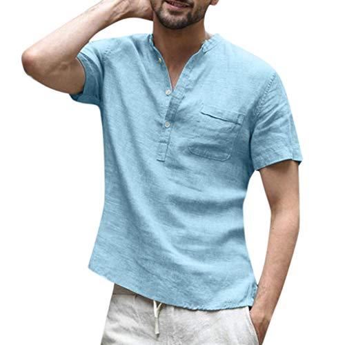 be78e0c98a25 Italily Camicie Cotone E Lino Maglietta Tinta Unita V-Collo T-Shirt Slim Fit