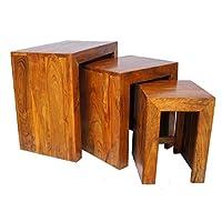 Sheesham Hardwood Cube Nest Of Tables