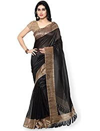Rajnandini Women's Tussar Art Silk Solid Saree With Blouse Piece (JOPLNB3003_Black And Brown_Free Size)