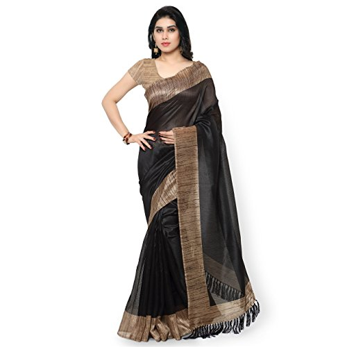 Rajnandini Women\'s Tussar Art Silk Printed Saree( JOPLNB3003_black_Free Size)