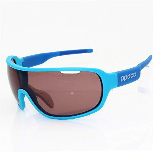 FELICIOO Radfahren Sonnenbrillen Radfahren Sport Wrap Eyewear UV400, 3 Linsen (Farbe : Blau)