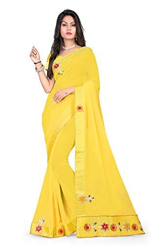 Riva Enterprise women's Georgette heavy bordered flower and hand work yellow saree...