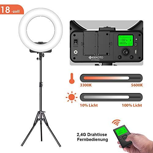GEEKOTO Ringlicht mit Kabelloser Fernbedienung und LCD-Display, 18-Zoll Dimmbare LED Ringleuchte mit Bi-Farbe 3300-5600K für Smartphone und Kamera, Ideal für Live-Streaming Make-up Vlogging Selfie