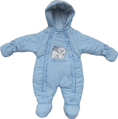 Schnizler Unisex Baby Schneeanzug Schneeoverall Eisbär gefüttert, Fäustlinge und Füßlinge abknöpfbar, Gr. 68, Blau (original 900)