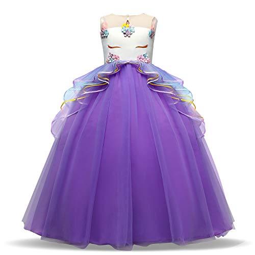 NNJXD Disfraz de Fiesta de Unicornio para Niñas Cosplay Disfraz de Halloween Tamaño (170) 13-14 Años Púrpura