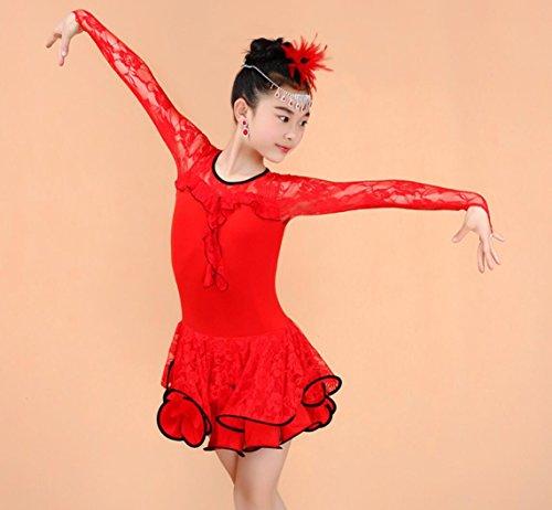 Latin Kostüm Wettbewerb Dance - Mädchen Tanz Kostüm Latin Dance Kleidung Lace Dance Kleidung Wettbewerb Bühnenshow Kleidung, red, xs