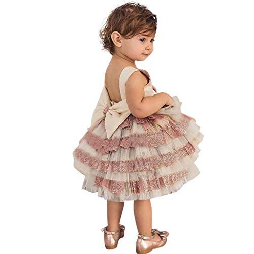 VJGOAL Mädchen Kleider, Kind Baby Süß Zurück öffnen Mesh Bogen Nähen Ärmellos Party Prinzessin Kleid Dresses for Girl ()