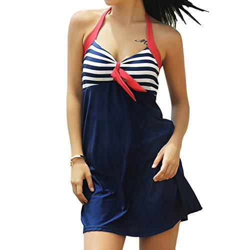 Cimenn Strandkleid Kleid Damen Sexy Streifen Badeanzug Einteilige Bademode (XL-Rot/Weiß/Blau) (Und Weiß Rot, Badeanzug Blau)