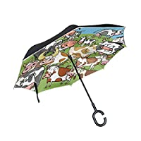 DEZIRO Cows Pattern Reverse Folding Umbrella?Auto Open UV Protection Self Stand with C-shaped Handle