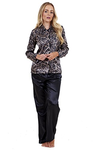 - 41RMFf 2BKwNL - Ladies Stunning Printed Satin Pyjamas Womens Long Sleeve Nightwear Silk PJ'S