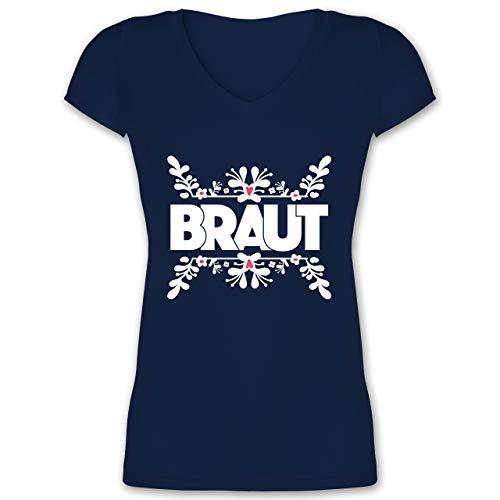 JGA Junggesellinnenabschied - Braut mit Randverzierung - L - Dunkelblau - XO1525 - Damen T-Shirt mit ()
