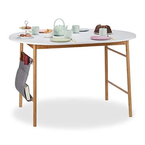 Relaxdays Esstisch weiß, ovaler Küchentisch aus Bambus & MDF, Schreibtisch im nordischen Design,...