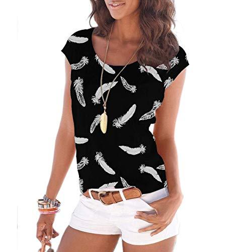 Fleasee Damen T-Shirt Kurzarm Bluse Locker Ärmelloses Top Lässig Sommer Tee mit Allover-Sternen und Anker Druck-M-Schwarz-feder