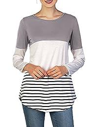 Tops T-Shirt Mujer Casual manga larga costura a rayas Slim Flexible Back Lace Bloques Blusa de color Minzhi
