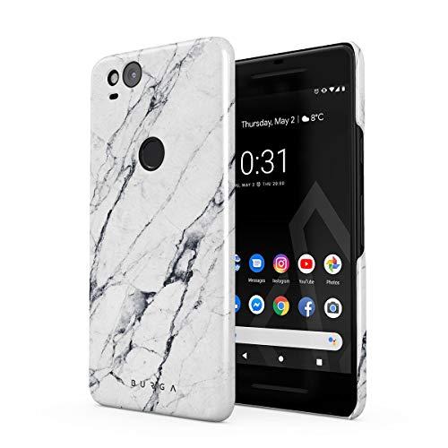 BURGA Hülle Kompatibel mit Google Pixel 2 Handy Huelle Licht Weiß Marmor Muster White Marble Dünn, Robuste Rückschale aus Kunststoff Handyhülle Schutz Case Cover -