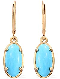 Arizona Sleeping Beauty Turquoise Lever Back Earrings in 14K Gold Overlay Sterling Silver 5.000 Ct.