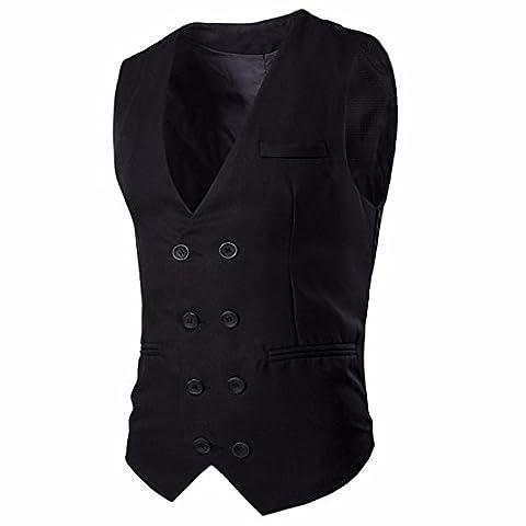 QIYUN.Z Männer Feste Farbe Textur Anzug Weste Weste