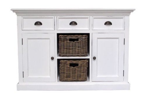 Albion Weiß lackiert Mahagoni Esszimmer Möbel Sideboard Buffet mit Körbe -