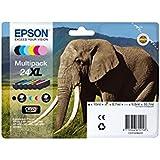 Encre d'origine EPSON Multipack Eléphant T2438 : cartouches Noir XL, Cyan XL, Magenta XL, Jaune XL, Cyan clair XL, Magenta clair XL