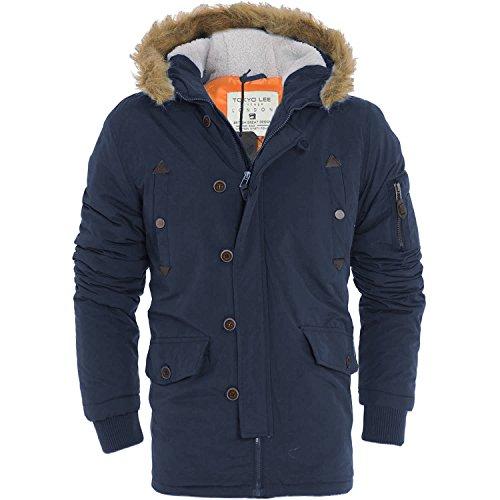 Mens pesanti Parka giacca con cappuccio pelliccia cappotto invernale (Liam) by Tokyo Lee (Taglie) Navy Large